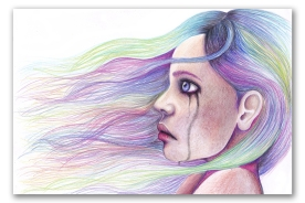 The Girl with the Rainbow Hair Pencil on paper